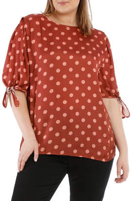Piper 16 22 Piper 16-22 Spotted Tie Sleeve Top