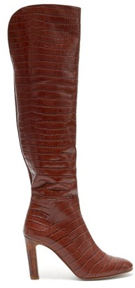 Gabriela Hearst Linda Crocodile-effect Leather Knee-high Boots - Womens - Tan