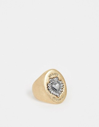 Sacred Hawk chunky signet ring in gold