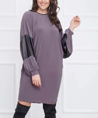Laranor Women's Casual Dresses GREY - Gray Faux Leather Accent Dolman Shift Dress - Women