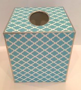 The Well Appointed House BARGAIN BASEMENT ITEM: Chelsea Aqua Decoupage Tissue Box - IN STOCK IN OUR GREENWICH FOR QUICK SHIPPING