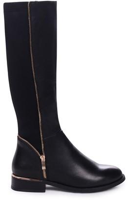 Linzi NATASHA - Black Nappa Long Boot with Gold Zip & Heel Detailing and Lycra Back Panel