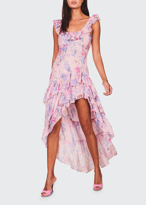 LoveShackFancy Winslow Floral High-Low Ruffle Dress