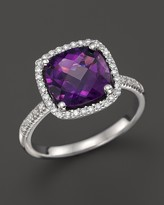 Bloomingdale's Amethyst and Diamond Cushion Cut Ring in 14K White Gold