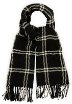 """Oasis STITCHED GRID CHECK SCARF [span class=""""variation_color_heading""""]- Black and White[/span]"""