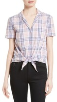 Equipment Women's Keira Tie Front Plaid Cotton Shirt