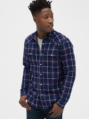 Gap Plaid Denim Western Shirt in Slim Fit