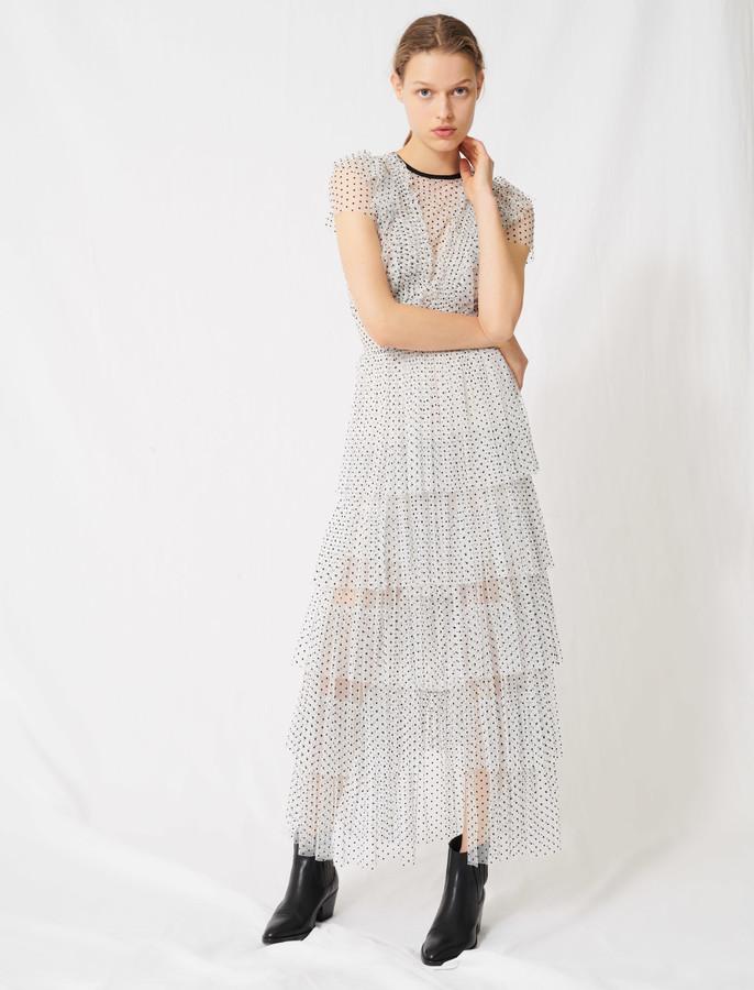 Maje Long dress in swiss-dot tulle