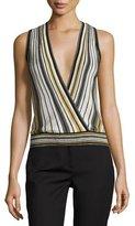 Diane von Furstenberg Velda Metallic Striped Surplice Top, Gold Multi