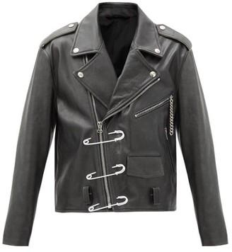 Raf Simons Safety-pin Leather Biker Jacket - Black