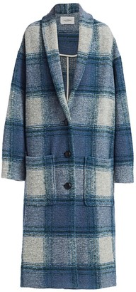 Etoile Isabel Marant Elayo Long Plaid Wool-Blend Coat