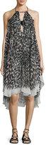 Milly Tahiti Brushstroke-Print Halter Coverup Dress