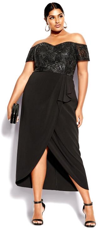 City Chic Romantic Ruffle Maxi Dress - black