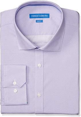 Vince Camuto Men's Slim Fit Stretch Collar Performance Purple Print Dress Shirt