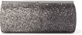 Jimmy Choo Trinket Glittered Satin Clutch - Silver