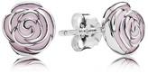 Pandora Stud Earrings - Sterling Silver & Enamel Rose Garden