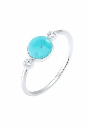 Elli Women 925 Silver Silver Round Iolite Solitaire Anniversary Ring
