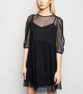 New Look Mesh Puff Sleeve Mini Smock Dress