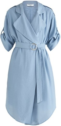 Paisie Oxford Double Breasted Jacket Dress In Blue