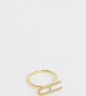 Galleria Amadoro Galleria Armadoro gold plated crystal pave A initial ring
