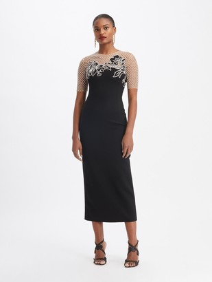 Oscar de la Renta Double Stretch Wool Crystal-Embroidered Cocktail Dress