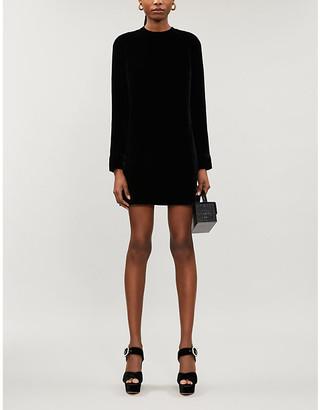 Reformation Kyra puffed-shoulder velvet mini dress