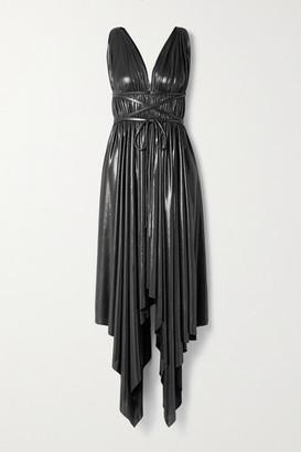 Norma Kamali Goddess Asymmetric Pleated Metallic Stretch-jersey Dress - Gunmetal