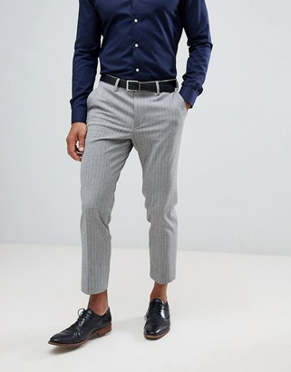 Asos DESIGN skinny crop smart pants in gray pinstripe