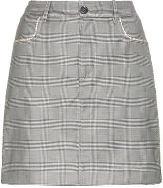 Ganni Merkel check silk and wool blend skirt