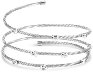 Charriol White Topaz Accent Coil Wrap Bangle Bracelet in Stainless Steel and Sterling Silver