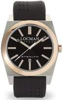 Locman Men's 42mm Rubber Band Steel Case Quartz Watch 02010rbkf5n0sik