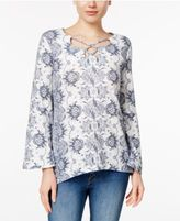 Style&Co. Style & Co Printed Bell-Sleeve Top, Only at Macy's
