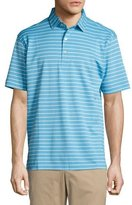 Peter Millar Falls Striped Cotton Piqué Polo Shirt, Blue