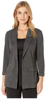 Liverpool Boyfriend Blazer w/ Princess Dart in Soft Herringbone Knit (Black/Grey) Women's Clothing
