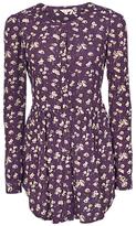 Fat Face Evie Teatime Floral Longline Dress, Aubergine