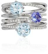 Effy Jewelry Effy Aquarius 14K White Gold Aquamarine, Tanzanite & Diamond Ring, 2.16 TCW