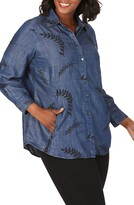 Foxcroft Cici Embroidered Tencel(R) Lyocell Tunic Shirt