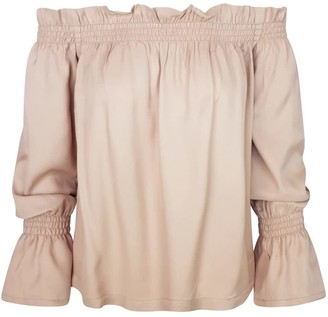 Haris Cotton Off-The-Shoulder Ruffled Viscose Blouse - Sand
