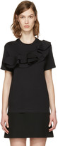 MSGM Black Asymmetric Ruffle T-shirt