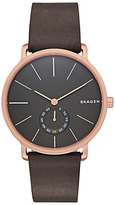 Skagen Skw6213 Hagen Leather Strap Watch, Dark Brown/anthracite