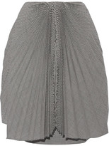 Facetasm Pleated Gingham Wool Skirt - Black