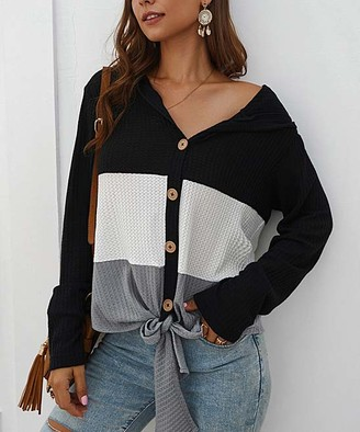Sucrefas Women's Pullover Sweaters Black - Black Color Block Hooded Tie-Hem Button-Up Top - Women