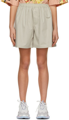 we11done Beige Logo Patch Shorts