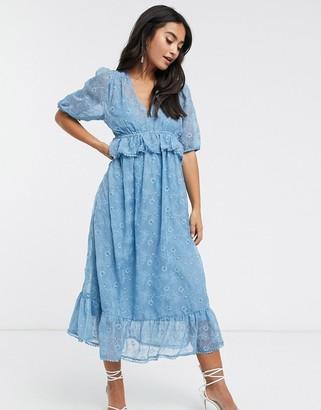 Y.A.S Dalis frill detail midi dress in blue