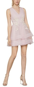 BCBGMAXAZRIA Embroidered Tiered Tulle Dress