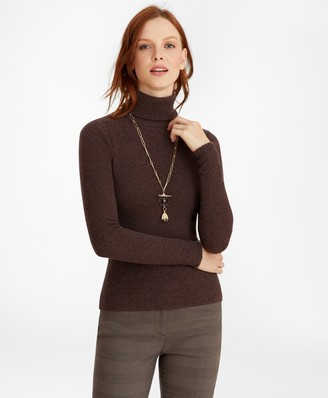 Brooks Brothers Tuck-Stitch Cashmere Turtleneck Sweater