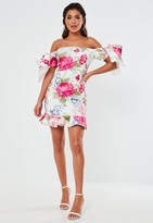Missguided White Floral Scuba Ruffle Bow Mini Dress