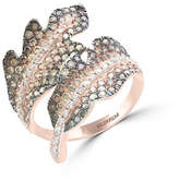 Effy 14K Rose Gold Studded Leaf Ring with 1.63 TCW White and Espresso Diamonds