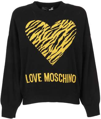 Love Moschino Black Technical Fabric Sweater