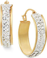 Macy's Crystal Hoop Earrings in 10k Gold, 15mm